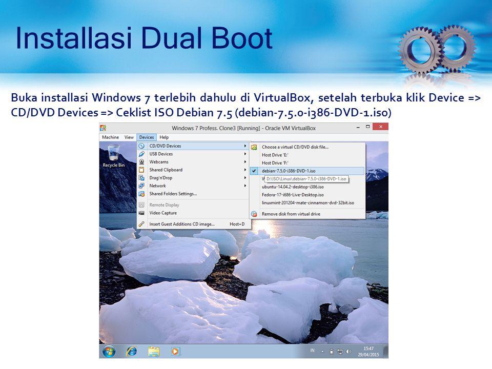 Installasi Dual Boot (Proses Install Debian 7.5) Semua partisi telah terbuat.