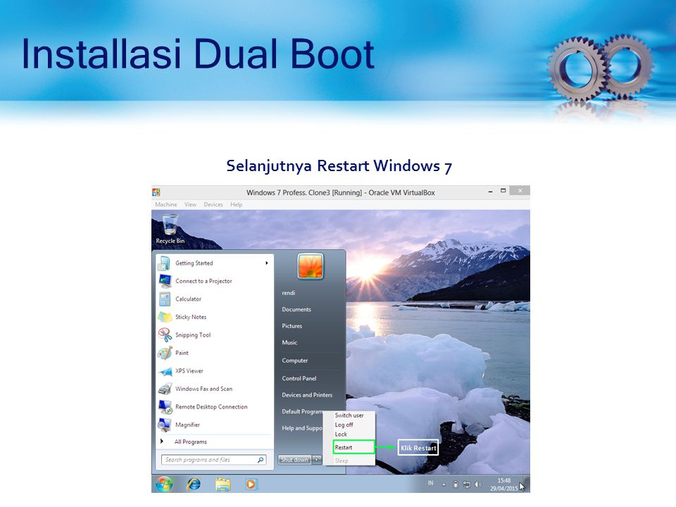 Installasi Dual Boot (Proses Install Debian 7.5) Sebelumnya kita telah menginstall Windows 7, maka dari itu terdapat partisi yang menggunakan sistem file NTFS .