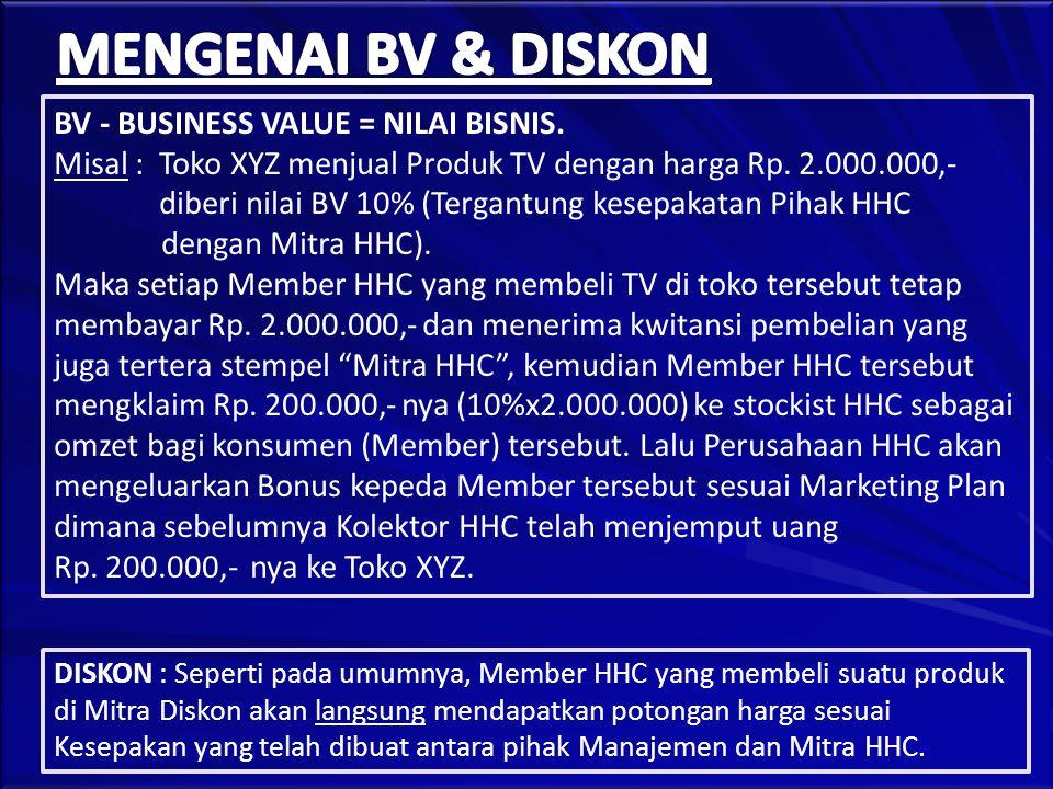 BV - BUSINESS VALUE = NILAI BISNIS. Misal : Toko XYZ menjual Produk TV dengan harga Rp.