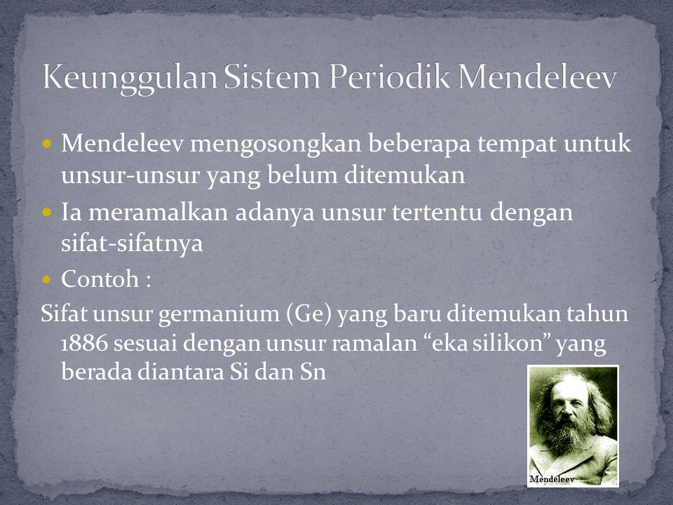 Mendeleev mengosongkan beberapa tempat untuk unsur-unsur yang belum ditemukan Ia meramalkan adanya unsur tertentu dengan sifat-sifatnya Contoh : Sifat