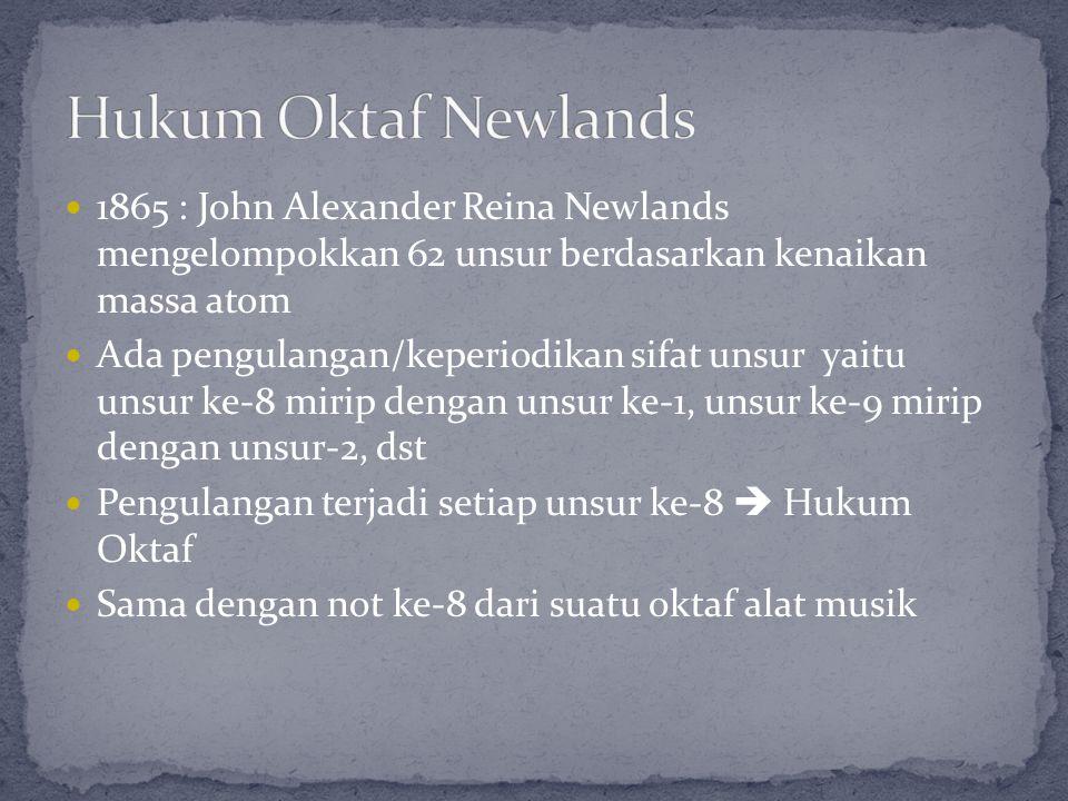 1865 : John Alexander Reina Newlands mengelompokkan 62 unsur berdasarkan kenaikan massa atom Ada pengulangan/keperiodikan sifat unsur yaitu unsur ke-8
