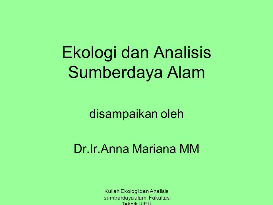 Kuliah Ekologi dan Analisis sumberdaya alam, Fakultas Teknik UIEU Ekologi dan Analisis Sumberdaya Alam disampaikan oleh Dr.Ir.Anna Mariana MM