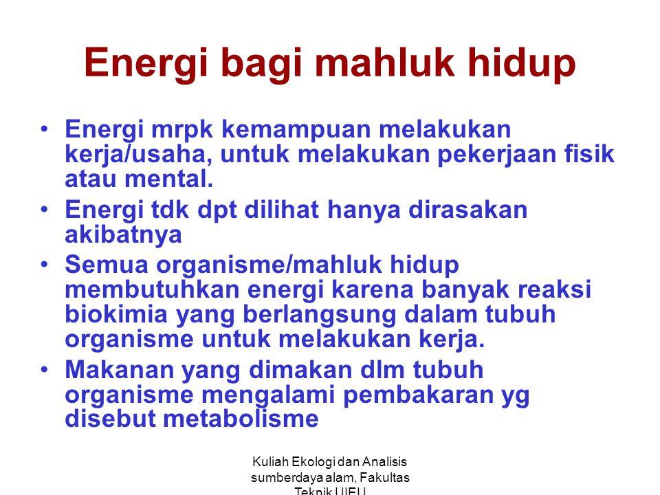 Kuliah Ekologi dan Analisis sumberdaya alam, Fakultas Teknik UIEU Energi bagi mahluk hidup Energi mrpk kemampuan melakukan kerja/usaha, untuk melakukan pekerjaan fisik atau mental.