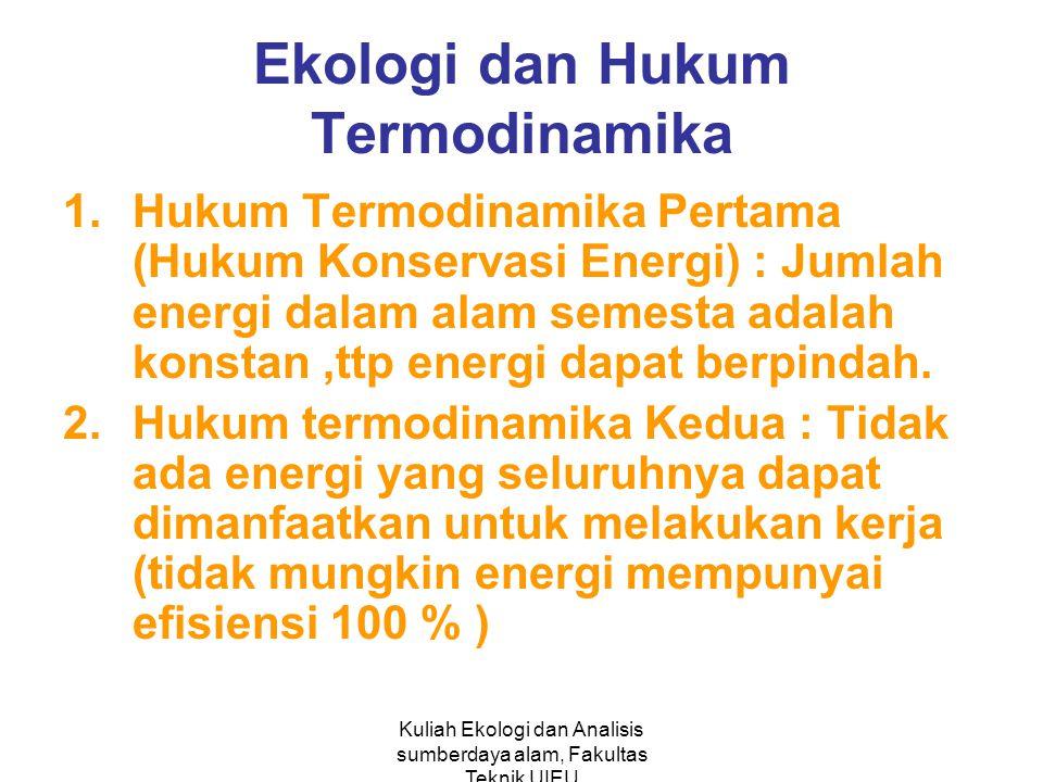 Kuliah Ekologi dan Analisis sumberdaya alam, Fakultas Teknik UIEU Ekologi dan Hukum Termodinamika 1.Hukum Termodinamika Pertama (Hukum Konservasi Energi) : Jumlah energi dalam alam semesta adalah konstan,ttp energi dapat berpindah.