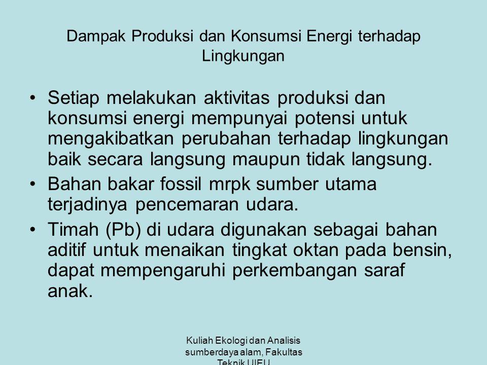 Kuliah Ekologi dan Analisis sumberdaya alam, Fakultas Teknik UIEU Dampak Produksi dan Konsumsi Energi terhadap Lingkungan Setiap melakukan aktivitas produksi dan konsumsi energi mempunyai potensi untuk mengakibatkan perubahan terhadap lingkungan baik secara langsung maupun tidak langsung.