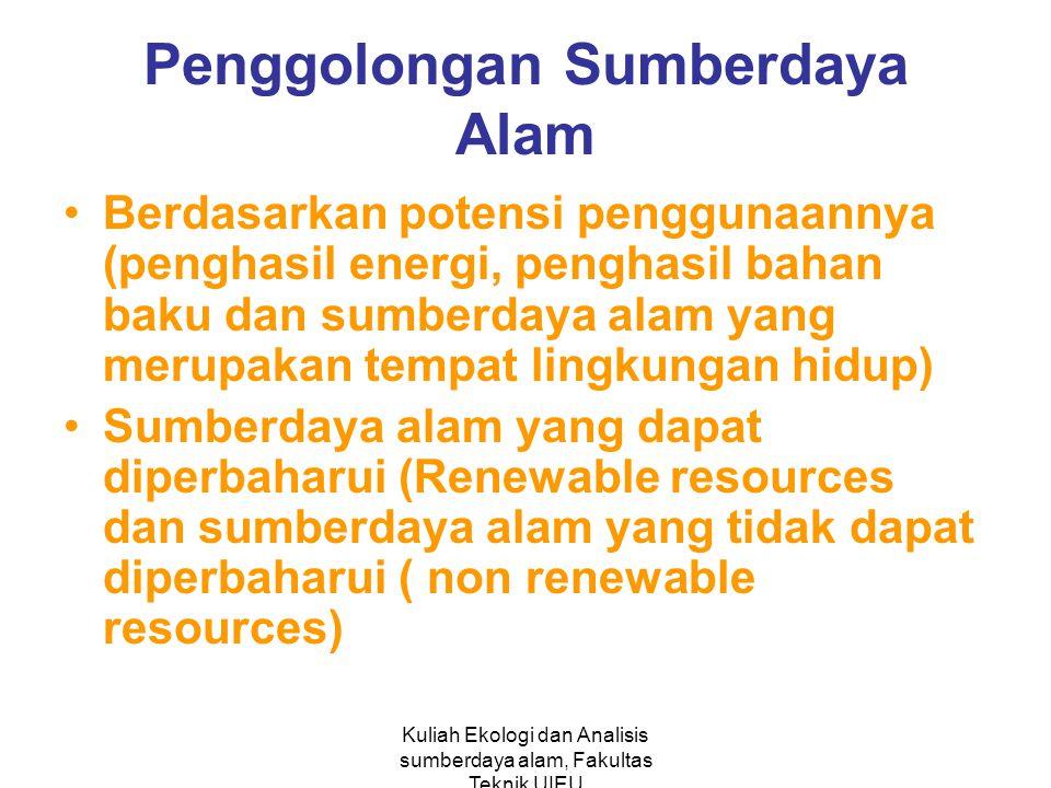 Kuliah Ekologi dan Analisis sumberdaya alam, Fakultas Teknik UIEU Penggolongan Sumberdaya Alam Berdasarkan potensi penggunaannya (penghasil energi, penghasil bahan baku dan sumberdaya alam yang merupakan tempat lingkungan hidup) Sumberdaya alam yang dapat diperbaharui (Renewable resources dan sumberdaya alam yang tidak dapat diperbaharui ( non renewable resources)