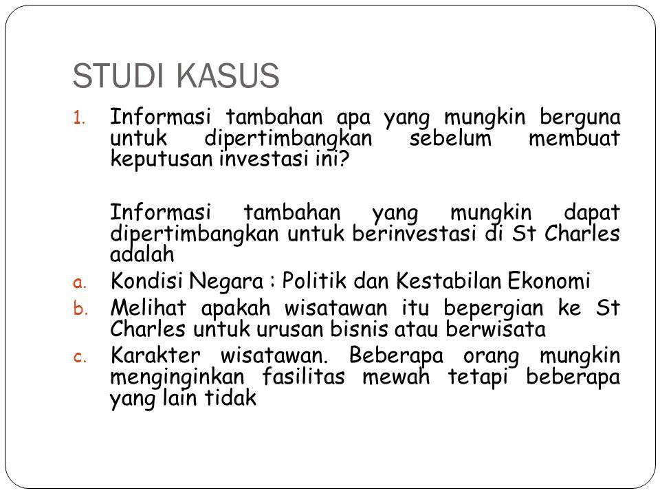 STUDI KASUS 1. Informasi tambahan apa yang mungkin berguna untuk dipertimbangkan sebelum membuat keputusan investasi ini? Informasi tambahan yang mung