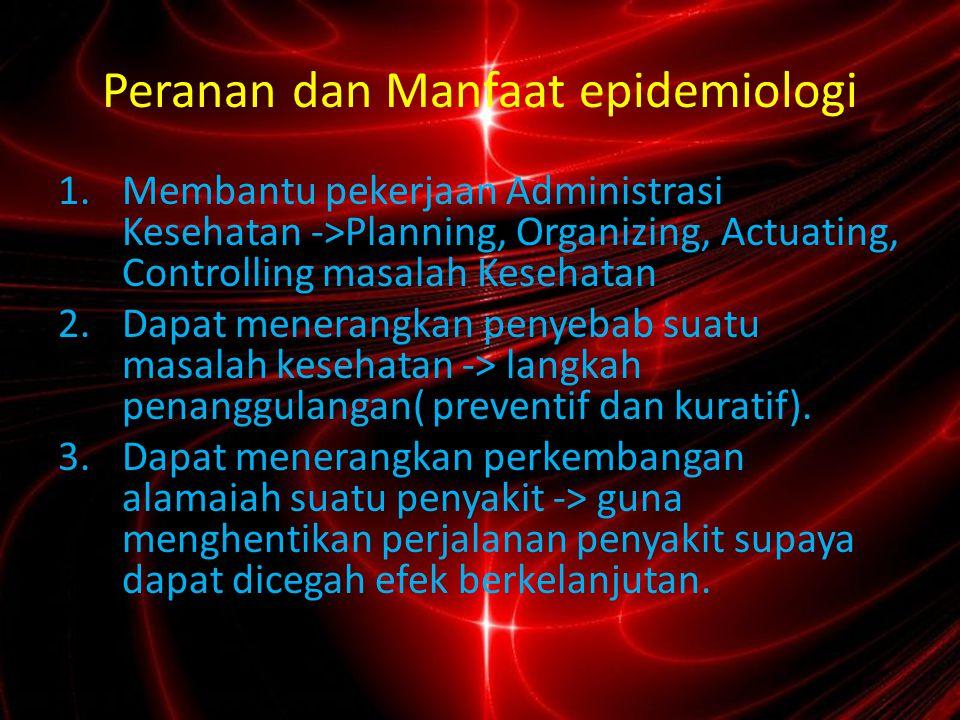 Peranan dan Manfaat epidemiologi 4.Dapat menerangkan keadaan suatu masalah kesehatan menurut PPT.