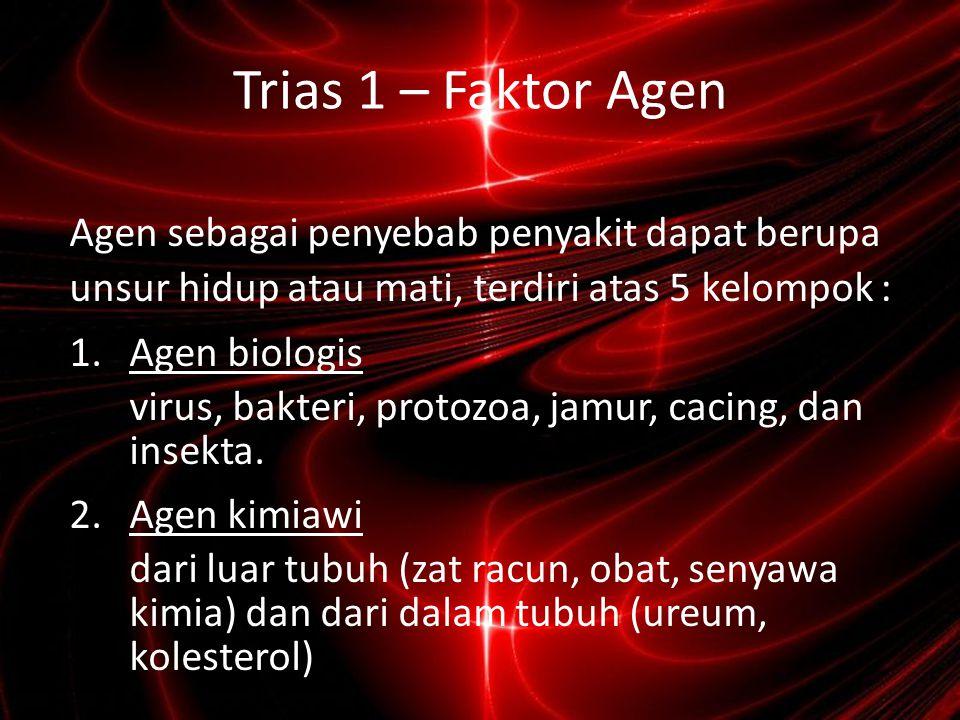 Faktor Agen (2) 3.Agen Fisika panas (luka bakar), irisan, tikaman, pukulan, radiasi, dll 4.Agen Nutrisi Kekurangan atau kelebihan nutrisi seperti : Protein, lemak, karbohidrat, vitamin, mineral, dan air.