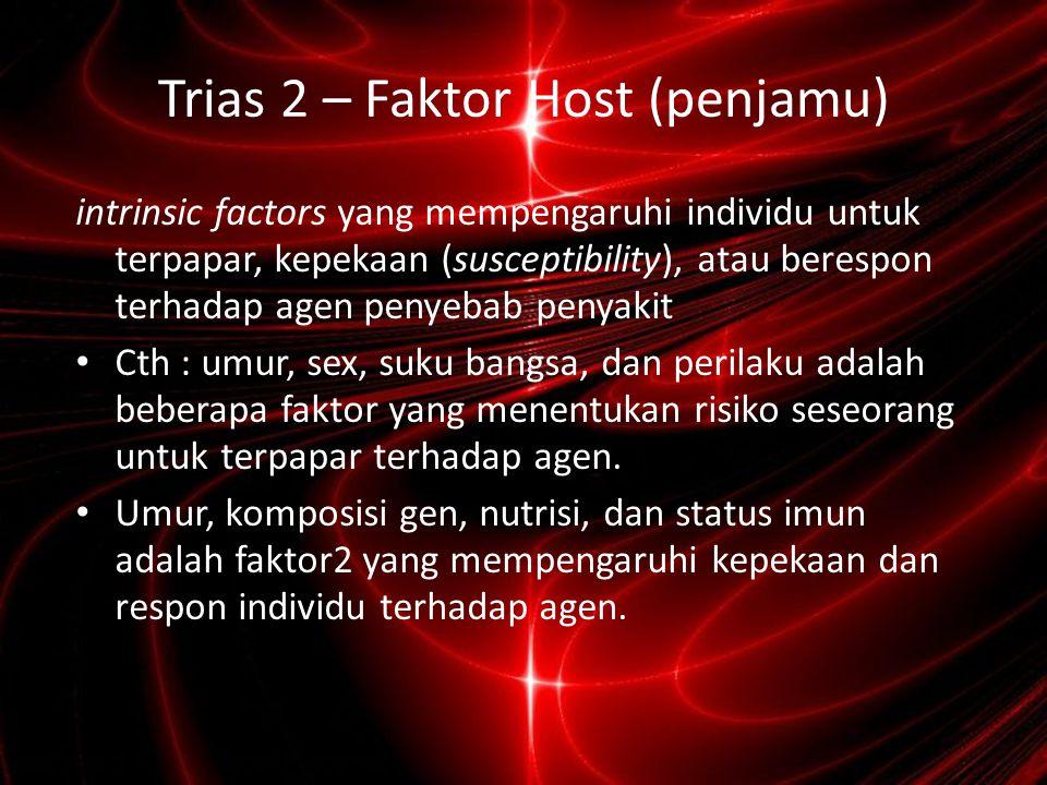 Trias 3 – Faktor Lingkungan extrinsic factors yang mempengaruhi agen dan peluang untuk terpapar.