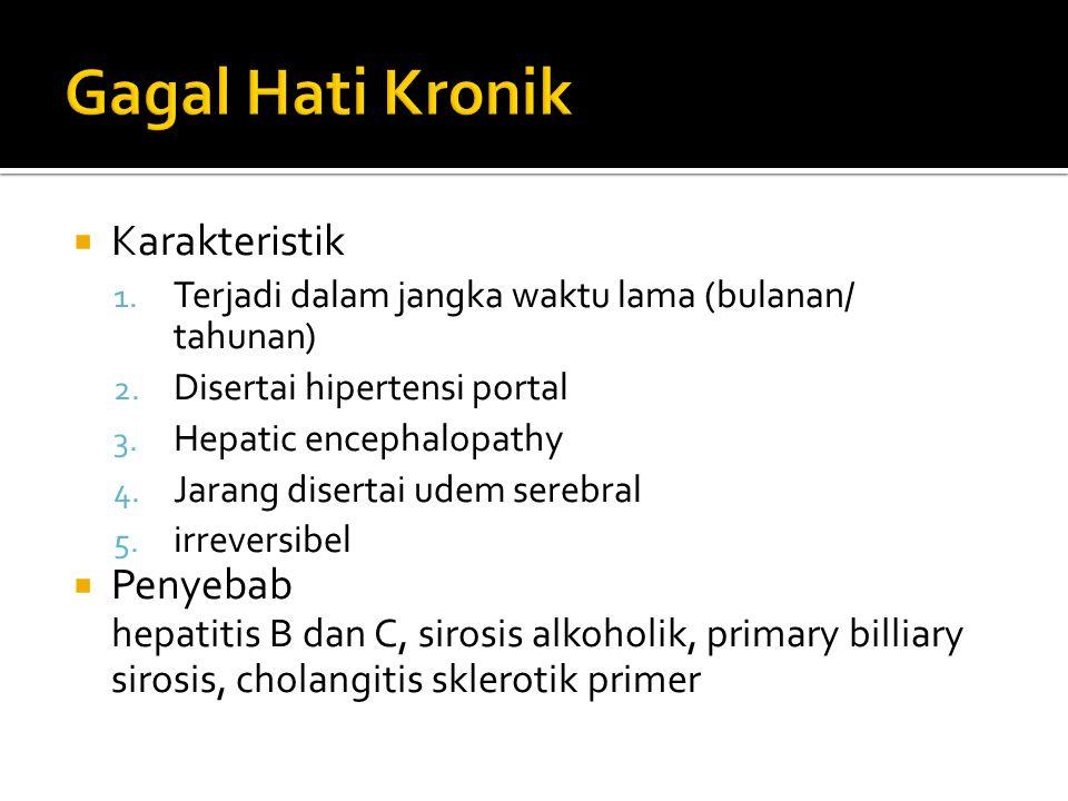  Karakteristik 1. Terjadi dalam jangka waktu lama (bulanan/ tahunan) 2. Disertai hipertensi portal 3. Hepatic encephalopathy 4. Jarang disertai udem