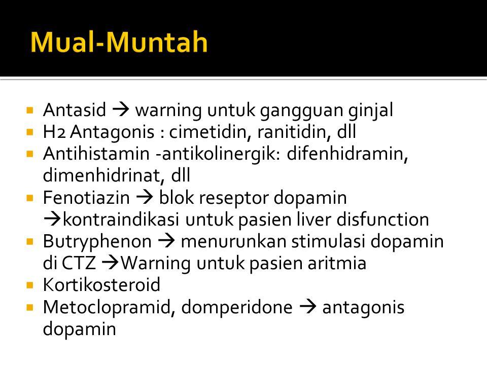  Antasid  warning untuk gangguan ginjal  H2 Antagonis : cimetidin, ranitidin, dll  Antihistamin -antikolinergik: difenhidramin, dimenhidrinat, dll