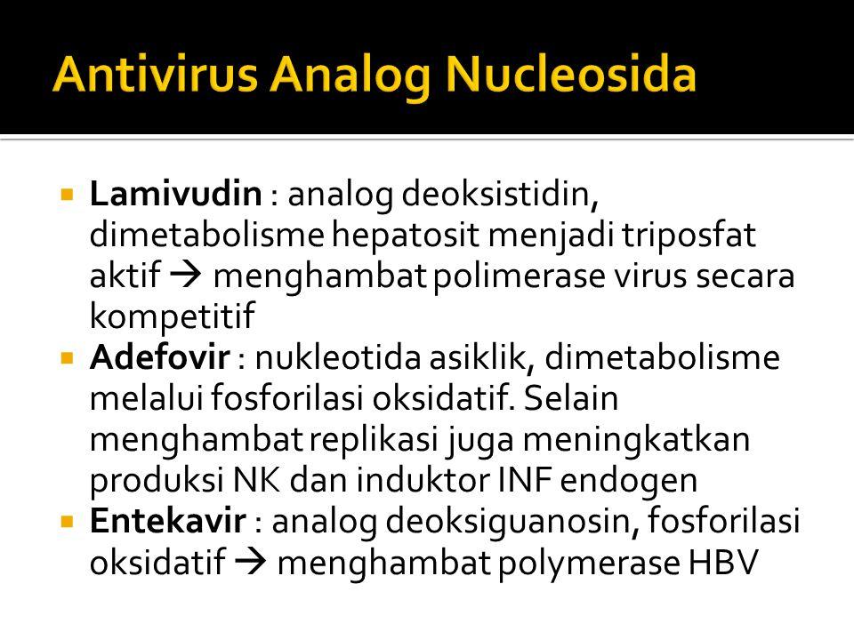  Lamivudin : analog deoksistidin, dimetabolisme hepatosit menjadi triposfat aktif  menghambat polimerase virus secara kompetitif  Adefovir : nukleo