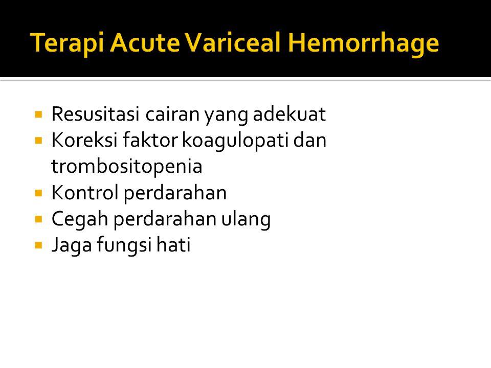  Resusitasi cairan yang adekuat  Koreksi faktor koagulopati dan trombositopenia  Kontrol perdarahan  Cegah perdarahan ulang  Jaga fungsi hati