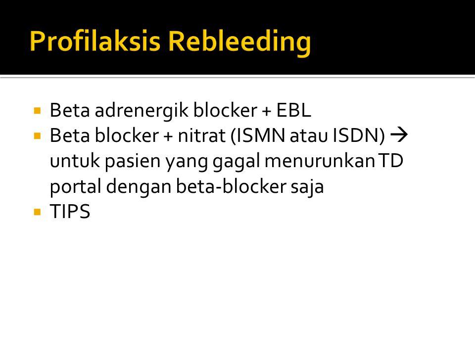  Beta adrenergik blocker + EBL  Beta blocker + nitrat (ISMN atau ISDN)  untuk pasien yang gagal menurunkan TD portal dengan beta-blocker saja  TIP