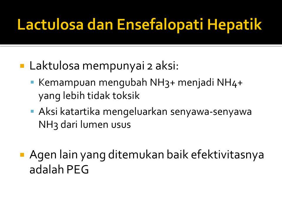  Laktulosa mempunyai 2 aksi:  Kemampuan mengubah NH3+ menjadi NH4+ yang lebih tidak toksik  Aksi katartika mengeluarkan senyawa-senyawa NH3 dari lu