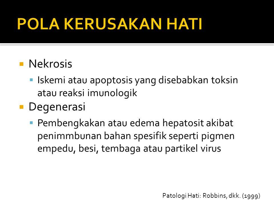  Nekrosis  Iskemi atau apoptosis yang disebabkan toksin atau reaksi imunologik  Degenerasi  Pembengkakan atau edema hepatosit akibat penimmbunan b