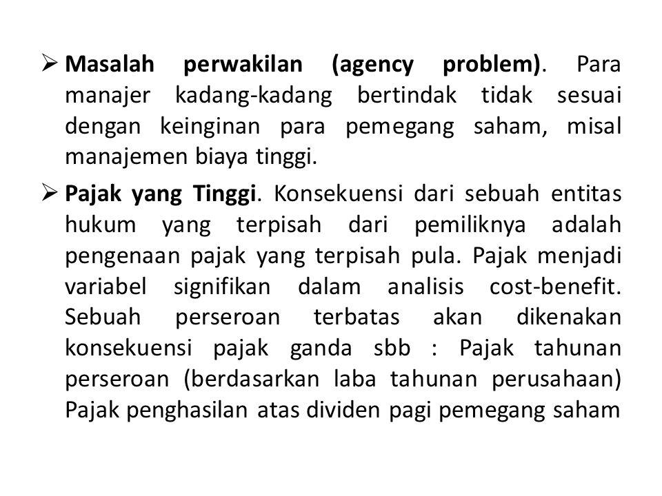  Masalah perwakilan (agency problem).