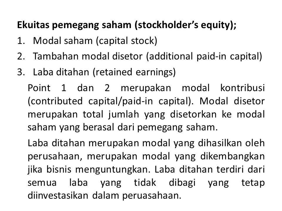 Ekuitas pemegang saham (stockholder's equity); 1.Modal saham (capital stock) 2.Tambahan modal disetor (additional paid-in capital) 3.Laba ditahan (ret