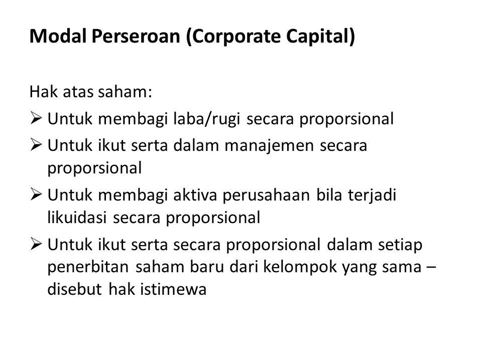 Modal Perseroan (Corporate Capital) Hak atas saham:  Untuk membagi laba/rugi secara proporsional  Untuk ikut serta dalam manajemen secara proporsional  Untuk membagi aktiva perusahaan bila terjadi likuidasi secara proporsional  Untuk ikut serta secara proporsional dalam setiap penerbitan saham baru dari kelompok yang sama – disebut hak istimewa