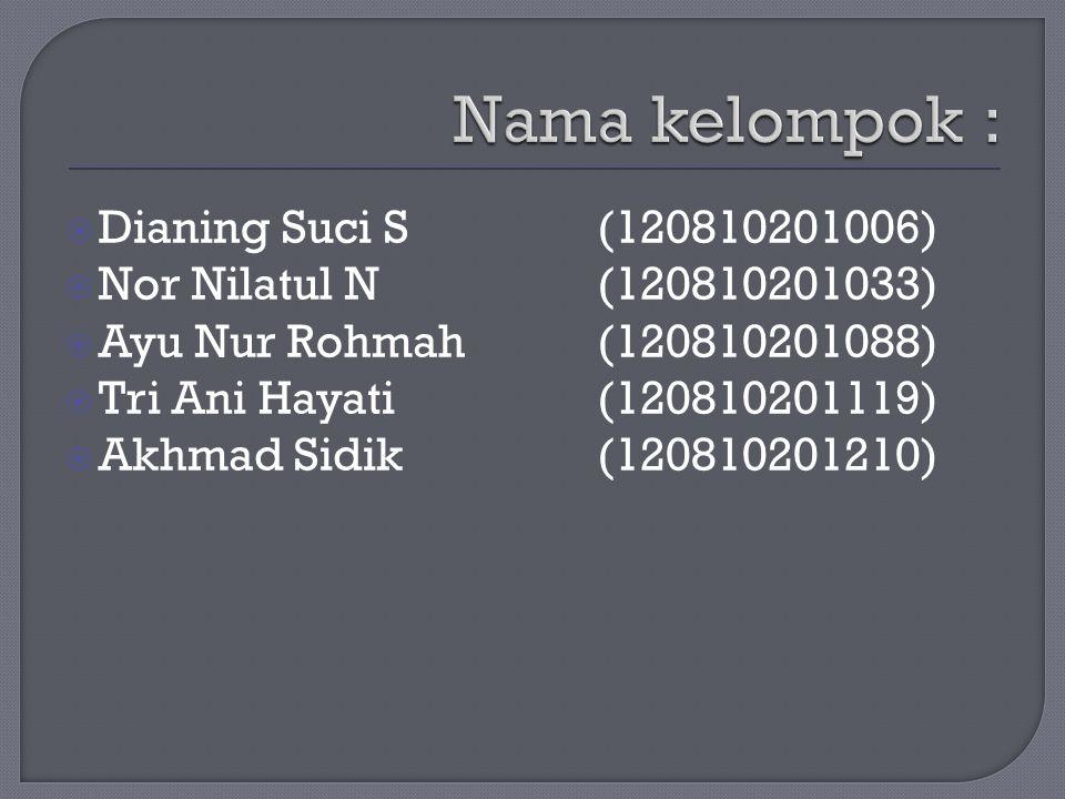  Dianing Suci S (120810201006)  Nor Nilatul N (120810201033)  Ayu Nur Rohmah(120810201088)  Tri Ani Hayati (120810201119)  Akhmad Sidik(120810201210)
