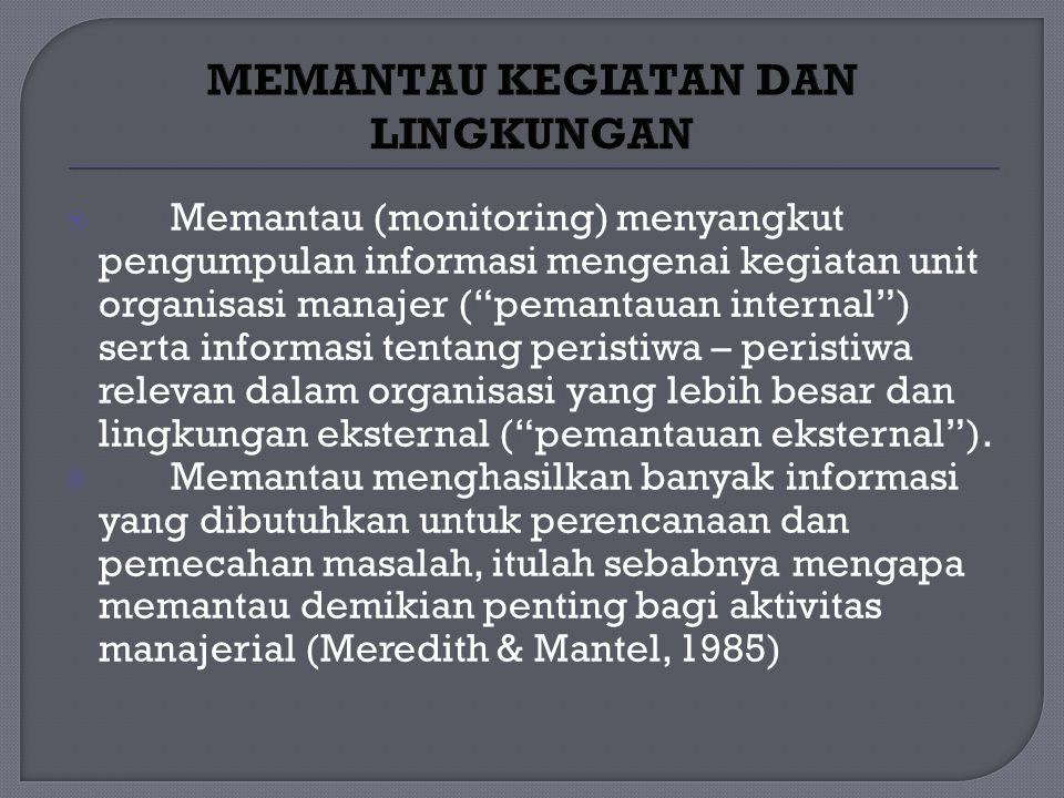  Memantau (monitoring) menyangkut pengumpulan informasi mengenai kegiatan unit organisasi manajer ( pemantauan internal ) serta informasi tentang peristiwa – peristiwa relevan dalam organisasi yang lebih besar dan lingkungan eksternal ( pemantauan eksternal ).