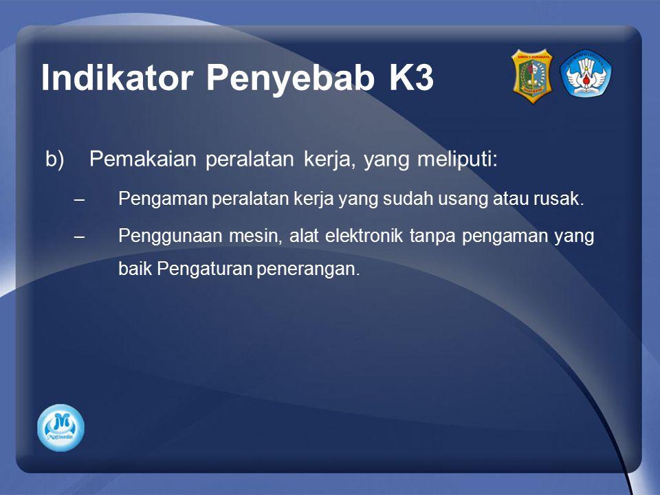 Indikator Penyebab K3 b)Pemakaian peralatan kerja, yang meliputi: –Pengaman peralatan kerja yang sudah usang atau rusak. –Penggunaan mesin, alat elekt