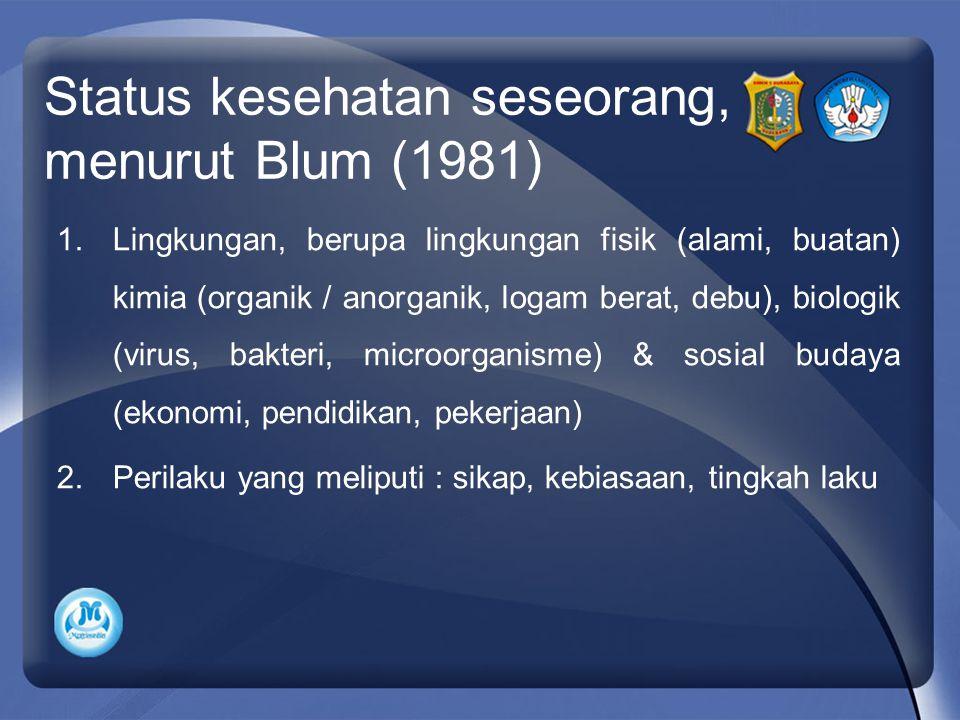 Status kesehatan seseorang, menurut Blum (1981) 1.Lingkungan, berupa lingkungan fisik (alami, buatan) kimia (organik / anorganik, logam berat, debu), biologik (virus, bakteri, microorganisme) & sosial budaya (ekonomi, pendidikan, pekerjaan) 2.Perilaku yang meliputi : sikap, kebiasaan, tingkah laku