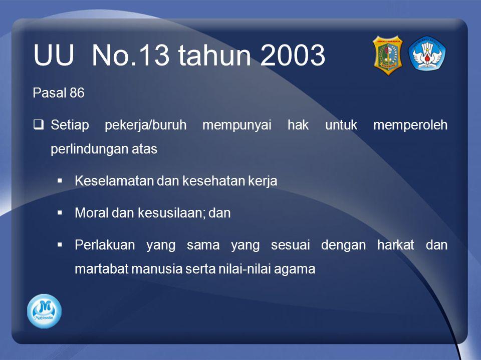 UU No.13 tahun 2003 Pasal 86  Setiap pekerja/buruh mempunyai hak untuk memperoleh perlindungan atas  Keselamatan dan kesehatan kerja  Moral dan kes