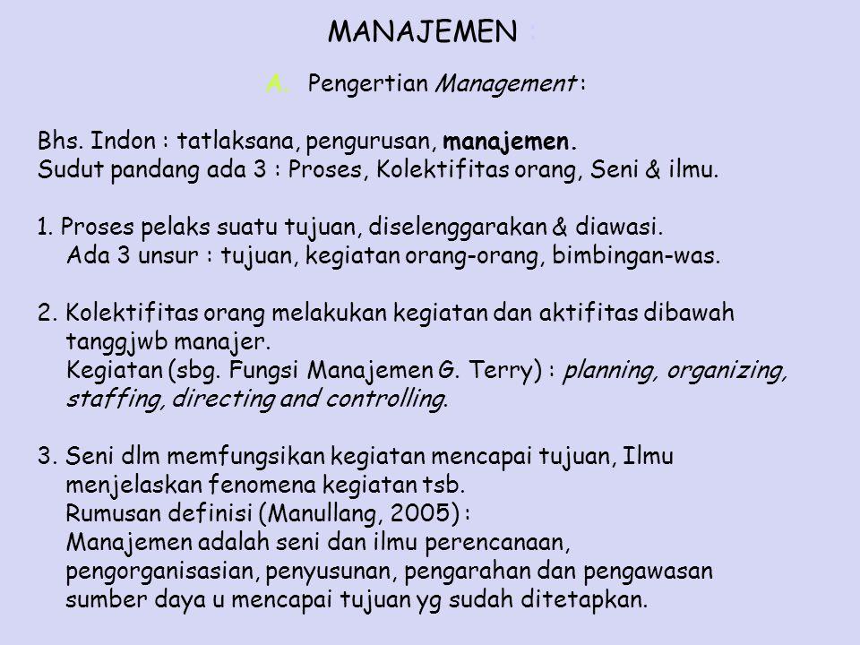 MANAJEMEN : A.Pengertian Management : Bhs. Indon : tatlaksana, pengurusan, manajemen. Sudut pandang ada 3 : Proses, Kolektifitas orang, Seni & ilmu. 1