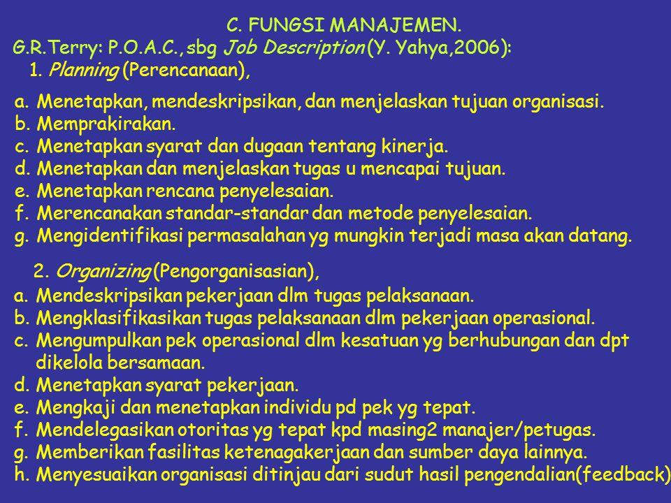 C. FUNGSI MANAJEMEN. G.R.Terry: P.O.A.C., sbg Job Description (Y. Yahya,2006): 1. Planning (Perencanaan), a.Menetapkan, mendeskripsikan, dan menjelask