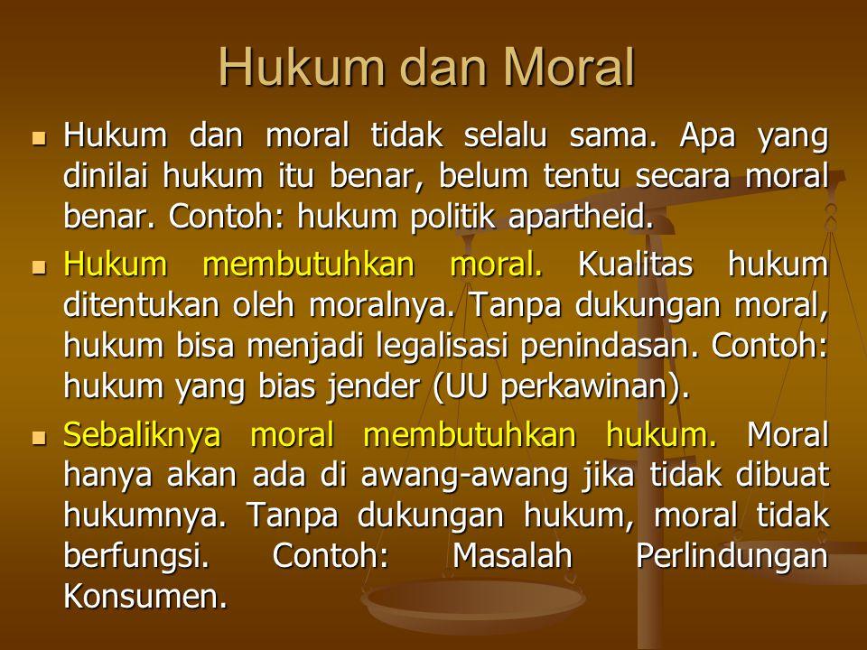 Hukum dan Moral Hukum dan moral tidak selalu sama.