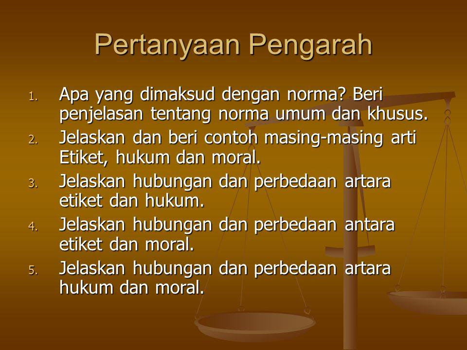 Pertanyaan Pengarah 1.Apa yang dimaksud dengan norma.