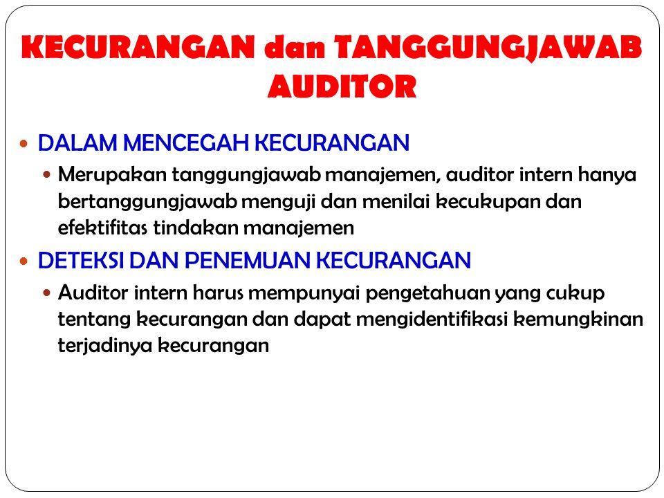 KECURANGAN dan TANGGUNGJAWAB AUDITOR DALAM MENCEGAH KECURANGAN Merupakan tanggungjawab manajemen, auditor intern hanya bertanggungjawab menguji dan me