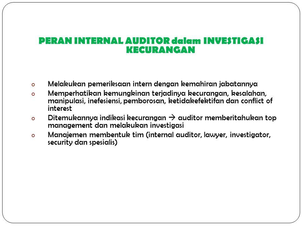 PERAN INTERNAL AUDITOR dalam INVESTIGASI KECURANGAN o Melakukan pemeriksaan intern dengan kemahiran jabatannya o Memperhatikan kemungkinan terjadinya