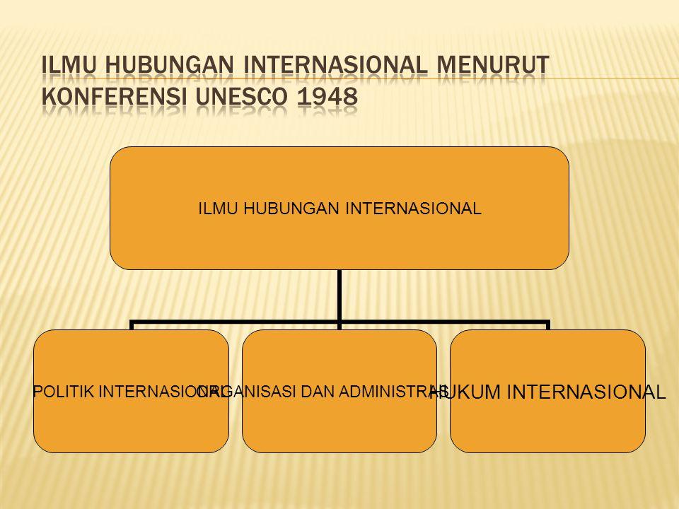 ILMU HUBUNGAN INTERNASIONAL POLITIK INTERNASIONAL ORGANISASI DAN ADMINISTRASI INT HUKUM INTERNASIONAL