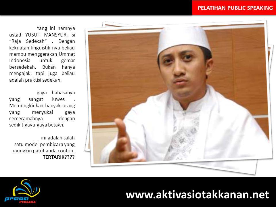 "PELATIHAN PUBLIC SPEAKING Yang ini namnya ustad YUSUF MANSYUR, si ""Raja Sedekah"". Dengan kekuatan linguistik nya beliau mampu menggerakan Ummat Indone"