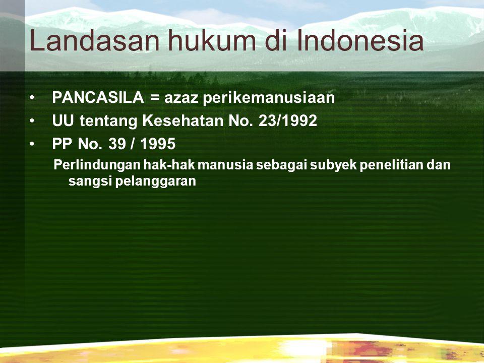 Landasan hukum di Indonesia PANCASILA = azaz perikemanusiaan UU tentang Kesehatan No. 23/1992 PP No. 39 / 1995 Perlindungan hak-hak manusia sebagai su