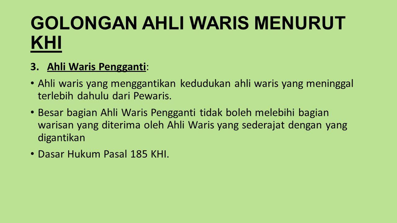 GOLONGAN AHLI WARIS MENURUT KHI 3.Ahli Waris Pengganti: Ahli waris yang menggantikan kedudukan ahli waris yang meninggal terlebih dahulu dari Pewaris.