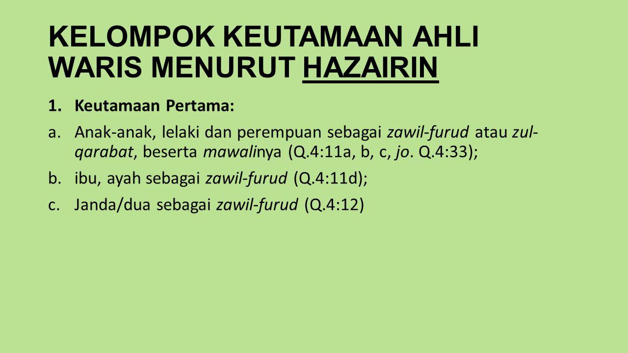KELOMPOK KEUTAMAAN AHLI WARIS MENURUT HAZAIRIN 1.Keutamaan Pertama: a.Anak-anak, lelaki dan perempuan sebagai zawil-furud atau zul- qarabat, beserta mawalinya (Q.4:11a, b, c, jo.
