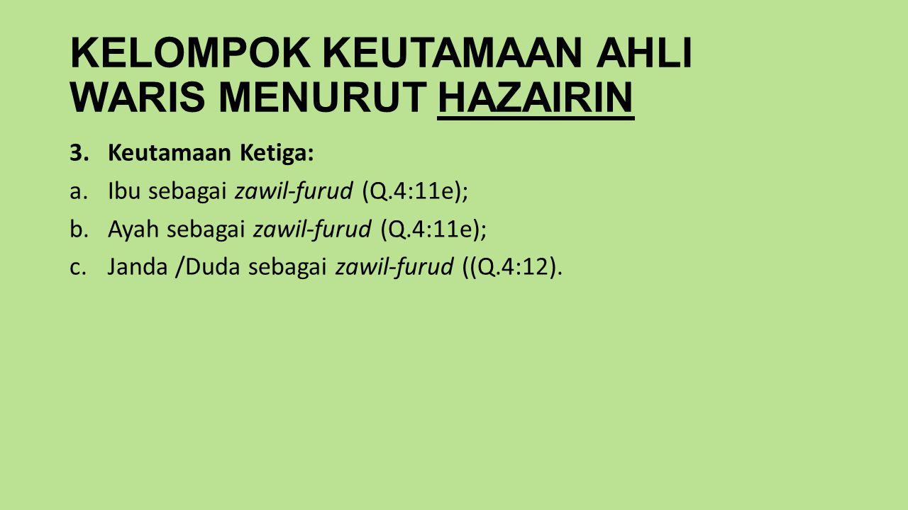 KELOMPOK KEUTAMAAN AHLI WARIS MENURUT HAZAIRIN 3.Keutamaan Ketiga: a.Ibu sebagai zawil-furud (Q.4:11e); b.Ayah sebagai zawil-furud (Q.4:11e); c.Janda /Duda sebagai zawil-furud ((Q.4:12).