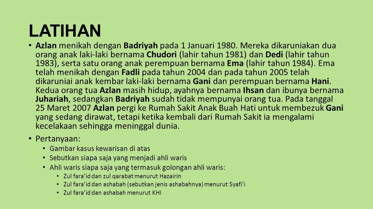 LATIHAN Azlan menikah dengan Badriyah pada 1 Januari 1980.