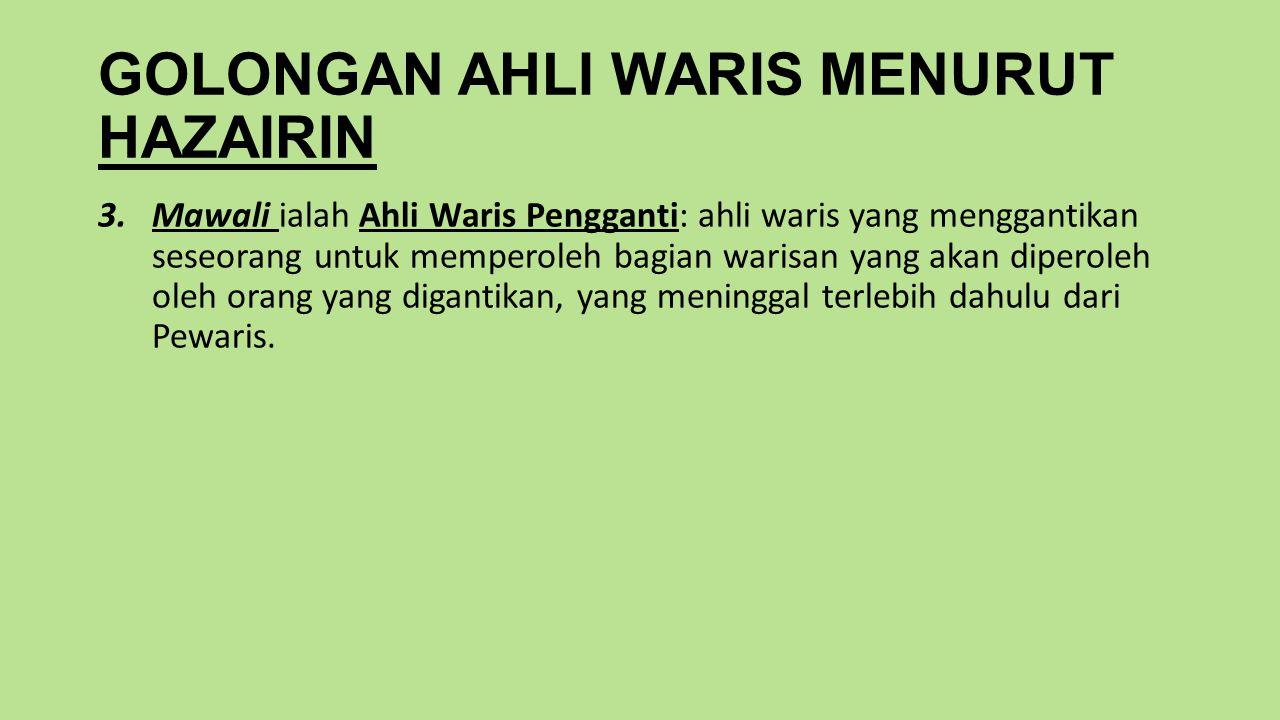 GOLONGAN AHLI WARIS MENURUT HAZAIRIN 3.Mawali ialah Ahli Waris Pengganti: ahli waris yang menggantikan seseorang untuk memperoleh bagian warisan yang akan diperoleh oleh orang yang digantikan, yang meninggal terlebih dahulu dari Pewaris.