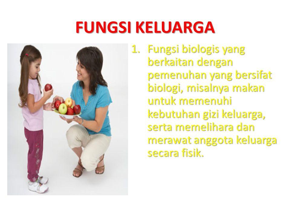 FUNGSI KELUARGA 1.Fungsi biologis yang berkaitan dengan pemenuhan yang bersifat biologi, misalnya makan untuk memenuhi kebutuhan gizi keluarga, serta memelihara dan merawat anggota keluarga secara fisik.