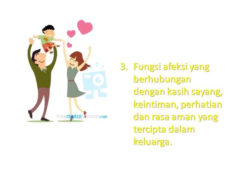3.Fungsi afeksi yang berhubungan dengan kasih sayang, keintiman, perhatian dan rasa aman yang tercipta dalam keluarga.
