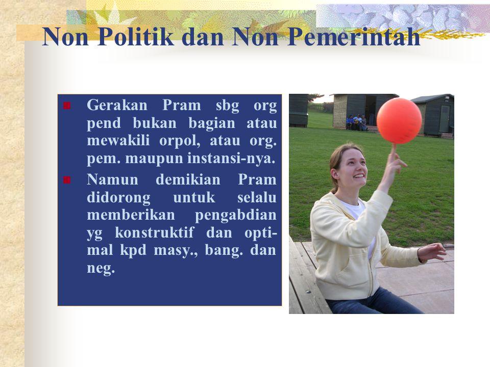 Non Politik dan Non Pemerintah Gerakan Pram sbg org pend bukan bagian atau mewakili orpol, atau org. pem. maupun instansi-nya. Namun demikian Pram did