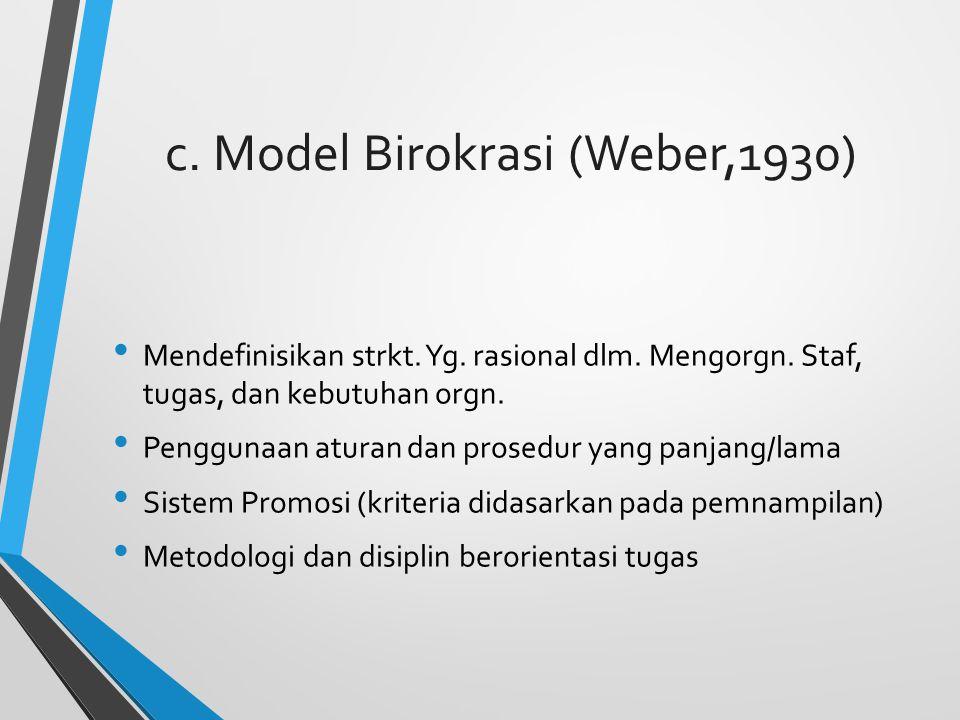 c.Model Birokrasi (Weber,1930) Mendefinisikan strkt.