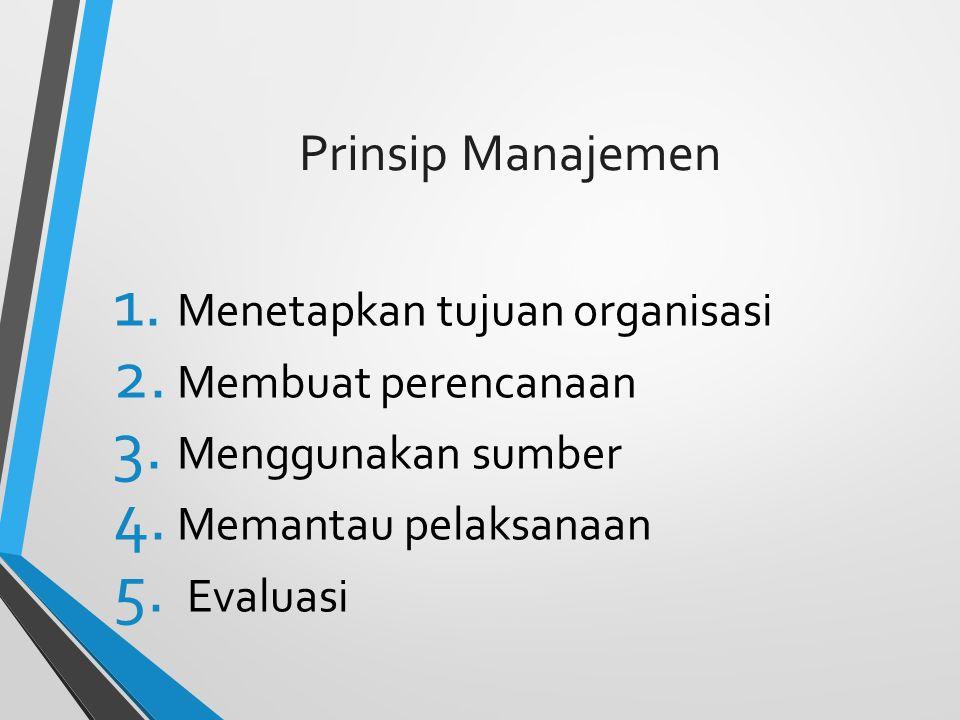 Prinsip Manajemen 1.Menetapkan tujuan organisasi 2.