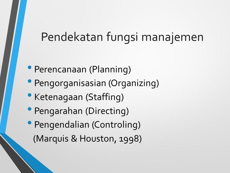 Pendekatan fungsi manajemen Perencanaan (Planning) Pengorganisasian (Organizing) Ketenagaan (Staffing) Pengarahan (Directing) Pengendalian (Controling) (Marquis & Houston, 1998)