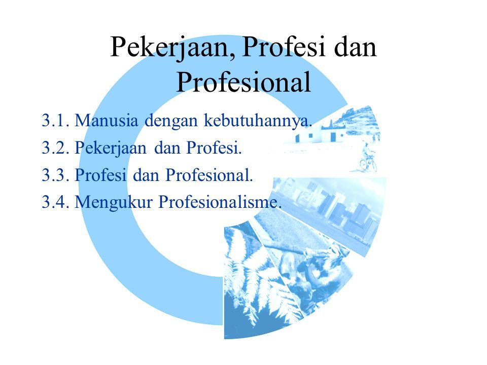 Pekerjaan, Profesi dan Profesional 3.1. Manusia dengan kebutuhannya. 3.2. Pekerjaan dan Profesi. 3.3. Profesi dan Profesional. 3.4. Mengukur Profesion